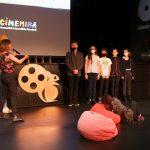 A 3. CINEMIRA gyerekeknek szóló videópályázatának különdíjasai, Videópályázat különdíjasok: Király Dominik, Csáki Júlia és a Zero Waste alkotói. Fotó: Posztós János